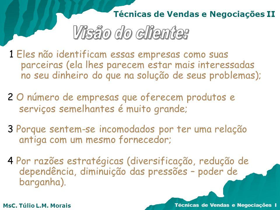 MsC.Túlio L.M. Morais Técnicas de Vendas e Negociações I Técnicas de Vendas e Negociações II MsC.