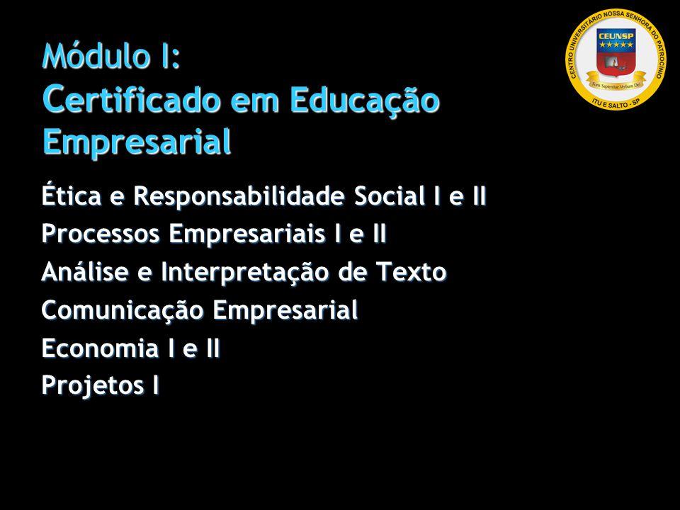 Módulo I: C ertificado em Educação Empresarial Ética e Responsabilidade Social I e II Processos Empresariais I e II Análise e Interpretação de Texto C