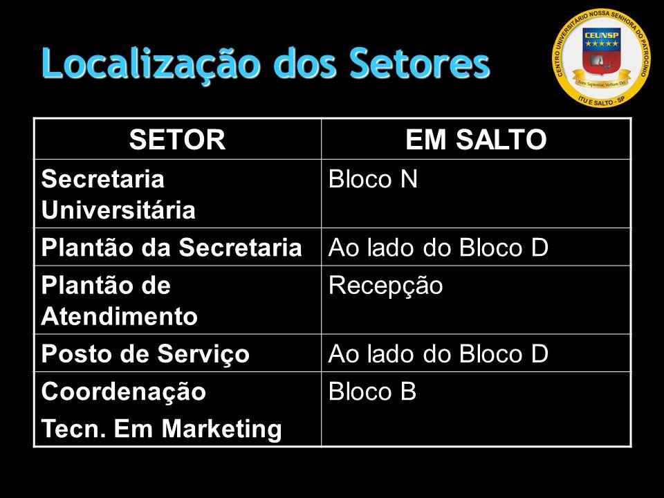 Localização dos Setores SETOREM SALTO Secretaria Universitária Bloco N Plantão da SecretariaAo lado do Bloco D Plantão de Atendimento Recepção Posto d