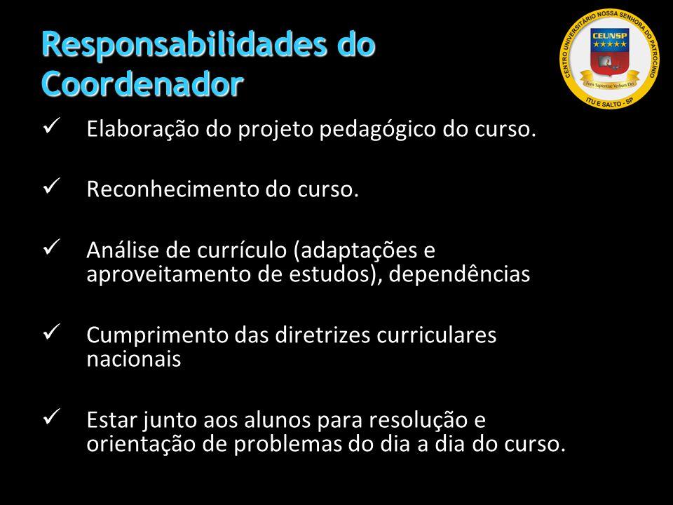 Responsabilidades do Coordenador Elaboração do projeto pedagógico do curso. Reconhecimento do curso. Análise de currículo (adaptações e aproveitamento