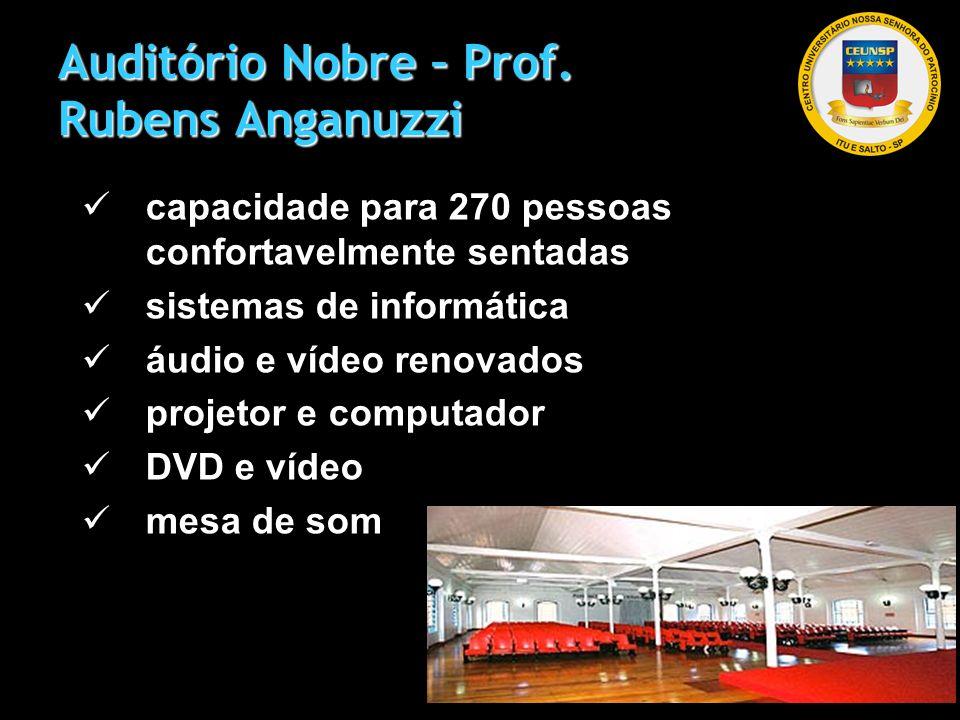 Auditório Nobre – Prof. Rubens Anganuzzi capacidade para 270 pessoas confortavelmente sentadas sistemas de informática áudio e vídeo renovados projeto