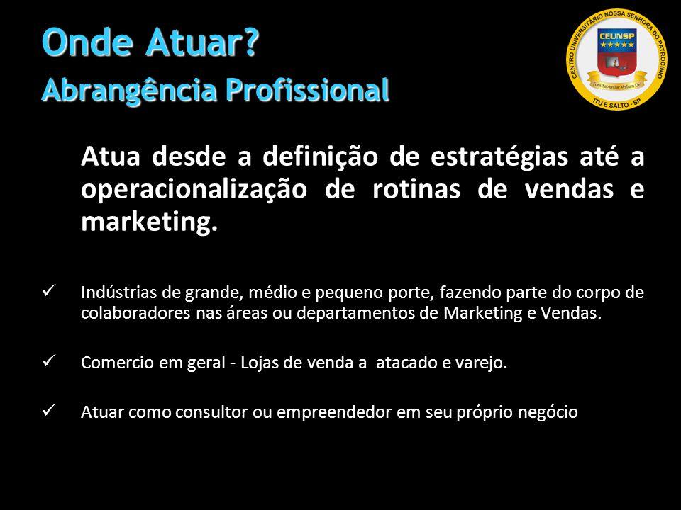 Onde Atuar? Abrangência Profissional Atua desde a definição de estratégias até a operacionalização de rotinas de vendas e marketing. Indústrias de gra