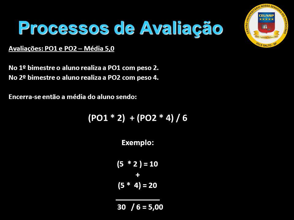 Processos de Avaliação Avaliações: PO1 e PO2 – Média 5,0 No 1º bimestre o aluno realiza a PO1 com peso 2. No 2º bimestre o aluno realiza a PO2 com pes