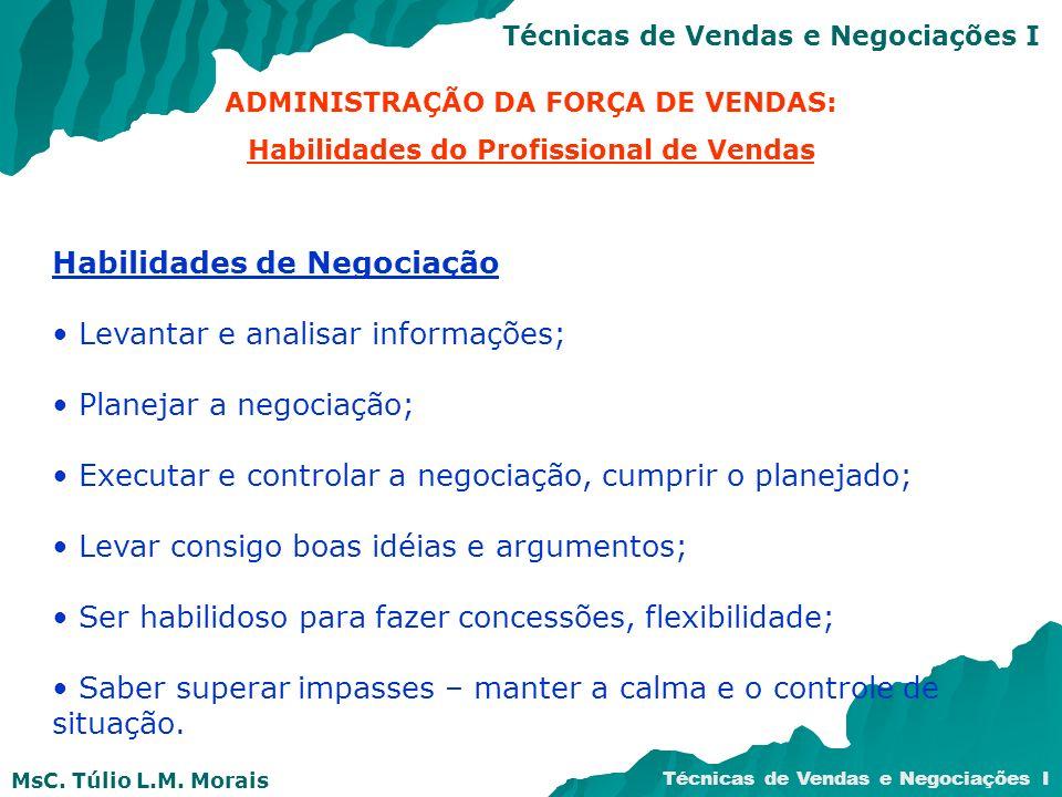 MsC. Túlio L.M. Morais Técnicas de Vendas e Negociações I Habilidades de Negociação Levantar e analisar informações; Planejar a negociação; Executar e