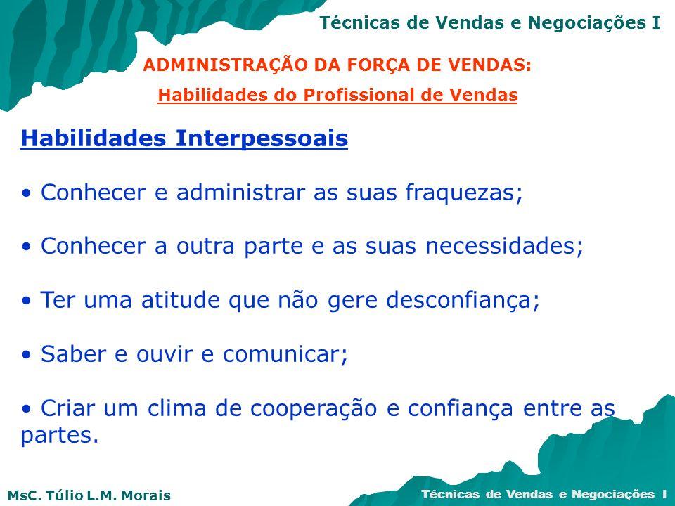 MsC. Túlio L.M. Morais Técnicas de Vendas e Negociações I ADMINISTRAÇÃO DA FORÇA DE VENDAS: Habilidades do Profissional de Vendas Habilidades Interpes