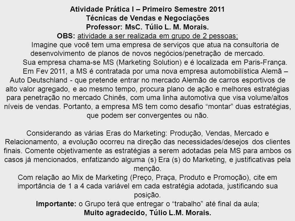 MsC. Túlio L.M. Morais Técnicas de Vendas e Negociações I Atividade Prática I – Primeiro Semestre 2011 Técnicas de Vendas e Negociações Professor: MsC
