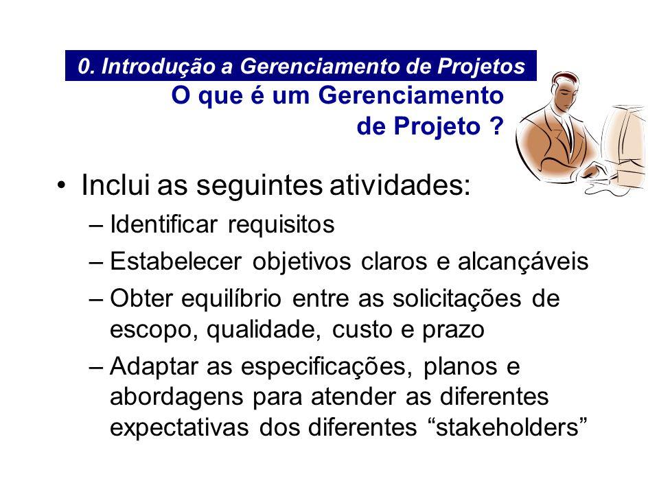 Inclui as seguintes atividades: –Identificar requisitos –Estabelecer objetivos claros e alcançáveis –Obter equilíbrio entre as solicitações de escopo,