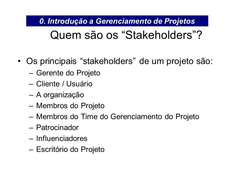 Quem são os Stakeholders? Os principais stakeholders de um projeto são: –Gerente do Projeto –Cliente / Usuário –A organização –Membros do Projeto –Mem