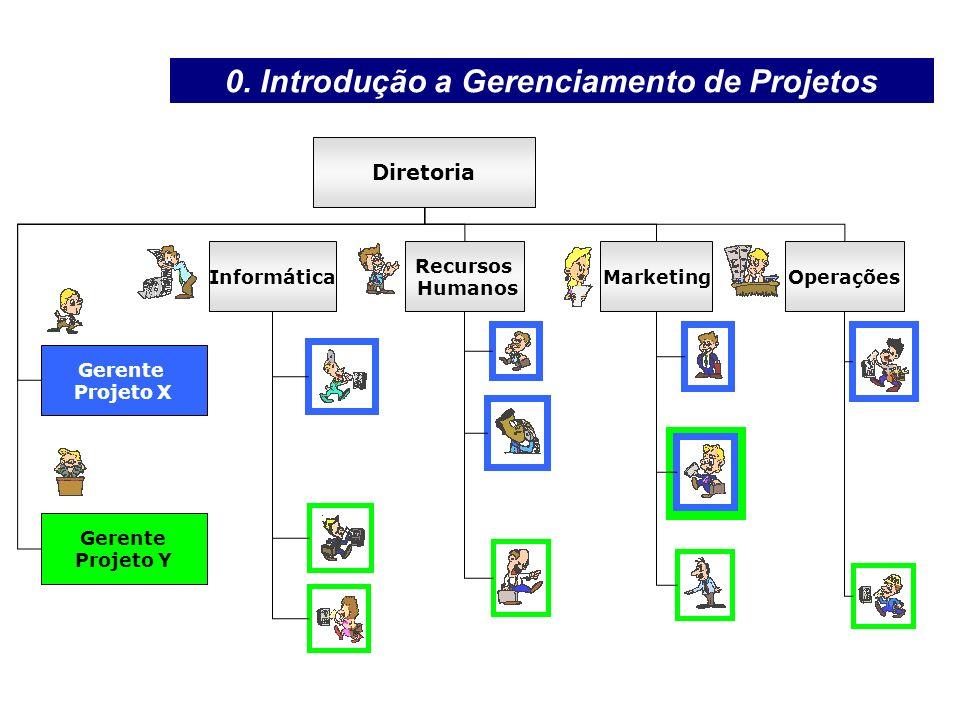 Gerente Projeto X Diretoria Informática Recursos Humanos MarketingOperações Gerente Projeto Y 0. Introdução a Gerenciamento de Projetos