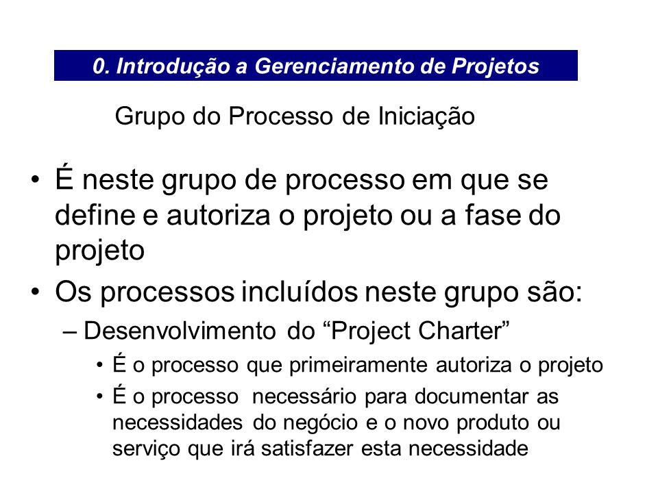 Grupo do Processo de Iniciação É neste grupo de processo em que se define e autoriza o projeto ou a fase do projeto Os processos incluídos neste grupo