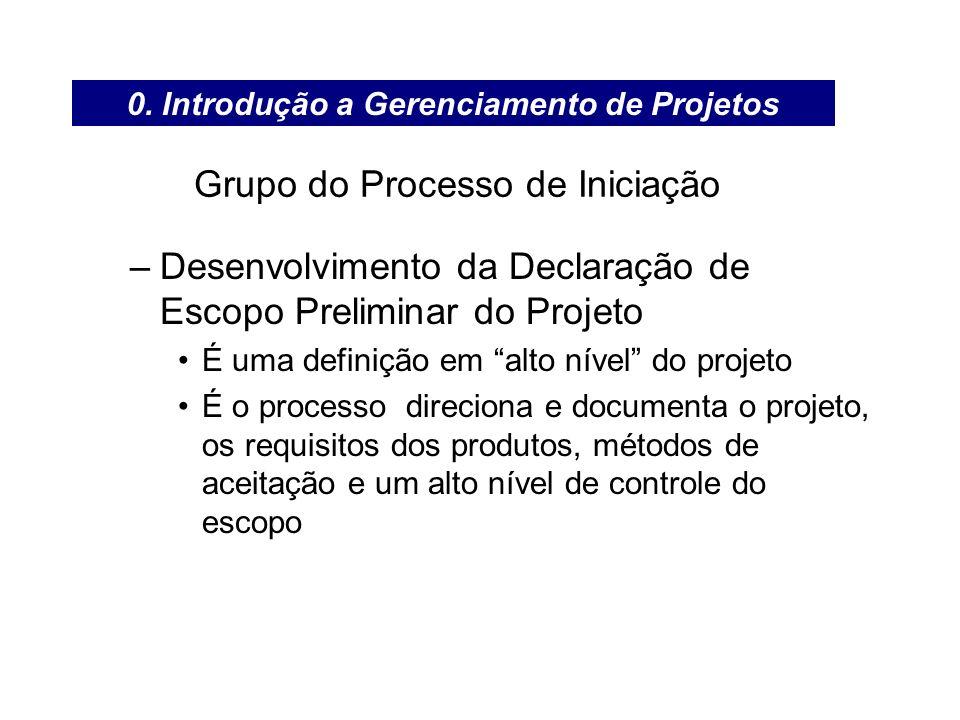 Grupo do Processo de Iniciação –Desenvolvimento da Declaração de Escopo Preliminar do Projeto É uma definição em alto nível do projeto É o processo di