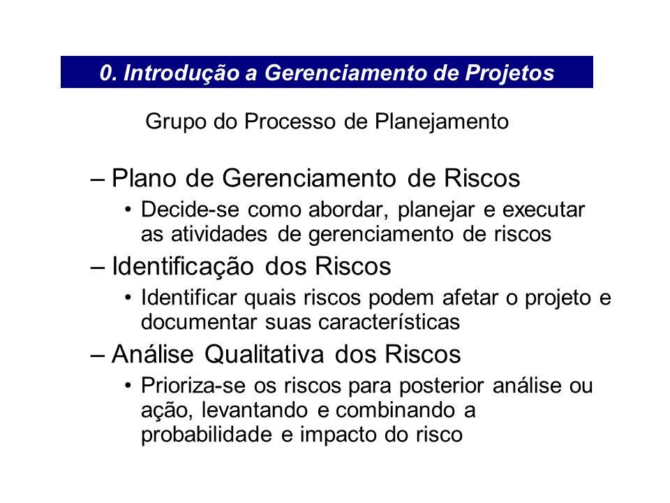 Grupo do Processo de Planejamento –Plano de Gerenciamento de Riscos Decide-se como abordar, planejar e executar as atividades de gerenciamento de risc