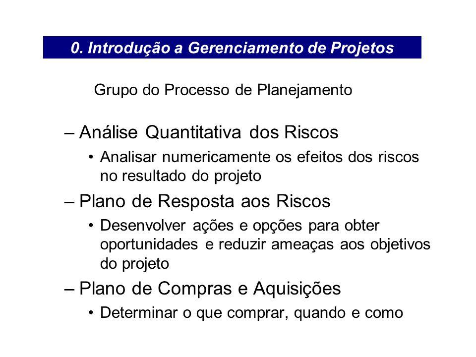 Grupo do Processo de Planejamento –Análise Quantitativa dos Riscos Analisar numericamente os efeitos dos riscos no resultado do projeto –Plano de Resp