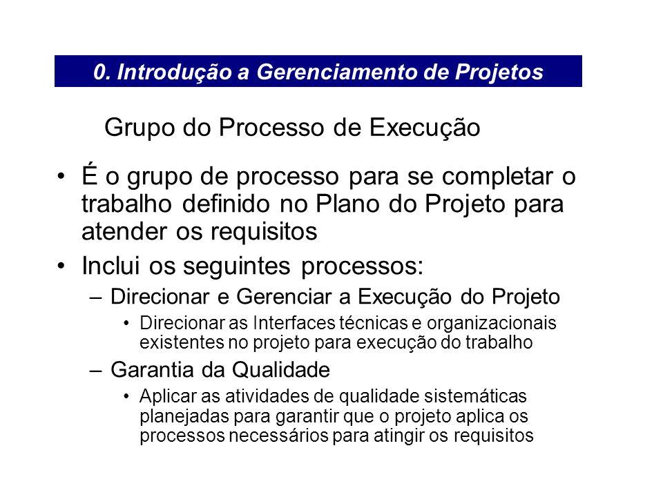 Grupo do Processo de Execução É o grupo de processo para se completar o trabalho definido no Plano do Projeto para atender os requisitos Inclui os seg