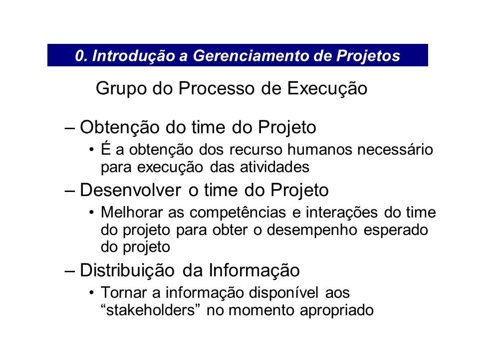 Grupo do Processo de Execução –Obtenção do time do Projeto É a obtenção dos recurso humanos necessário para execução das atividades –Desenvolver o tim