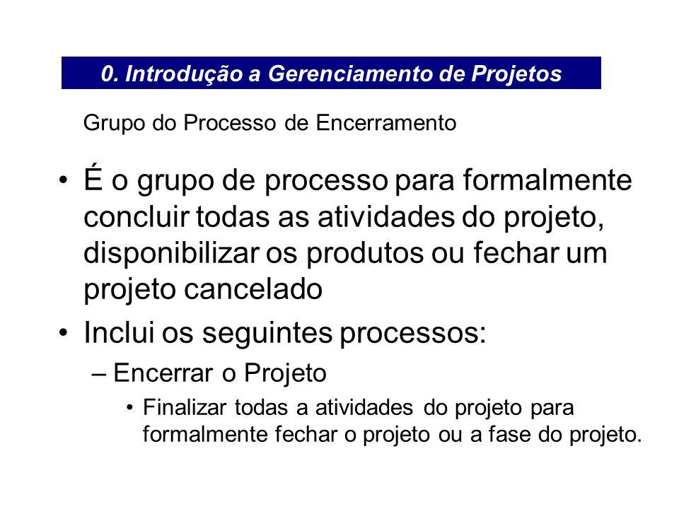 Grupo do Processo de Encerramento É o grupo de processo para formalmente concluir todas as atividades do projeto, disponibilizar os produtos ou fechar