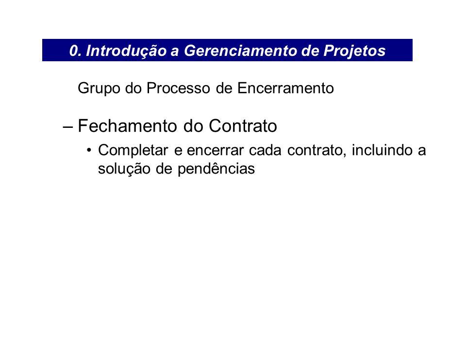 Grupo do Processo de Encerramento –Fechamento do Contrato Completar e encerrar cada contrato, incluindo a solução de pendências 0. Introdução a Gerenc