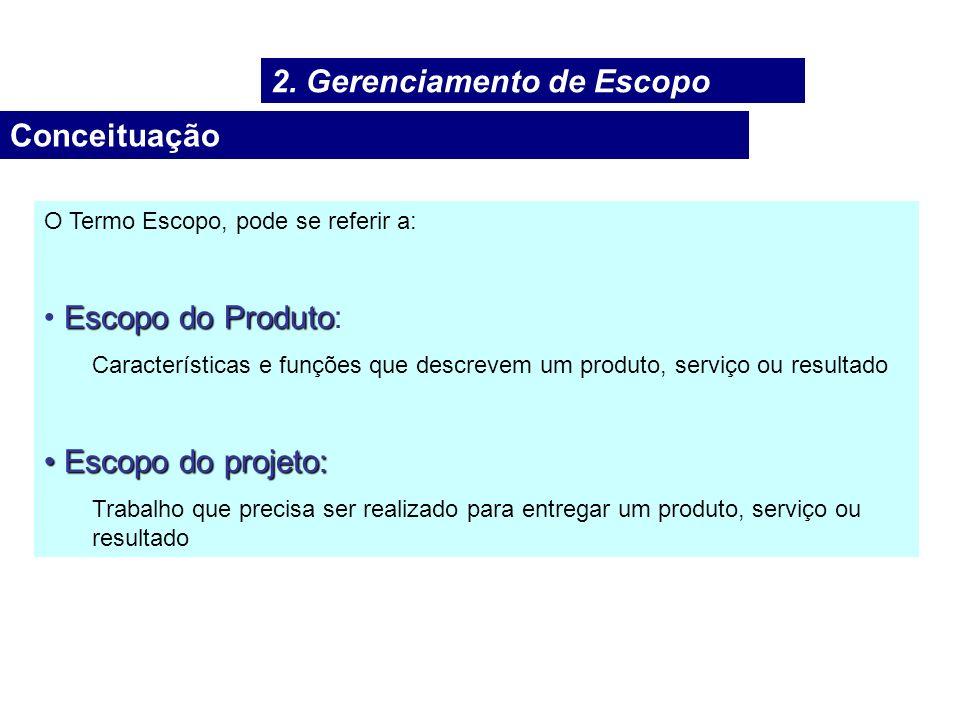 Conceituação O Termo Escopo, pode se referir a: Escopo do Produto Escopo do Produto: Características e funções que descrevem um produto, serviço ou re