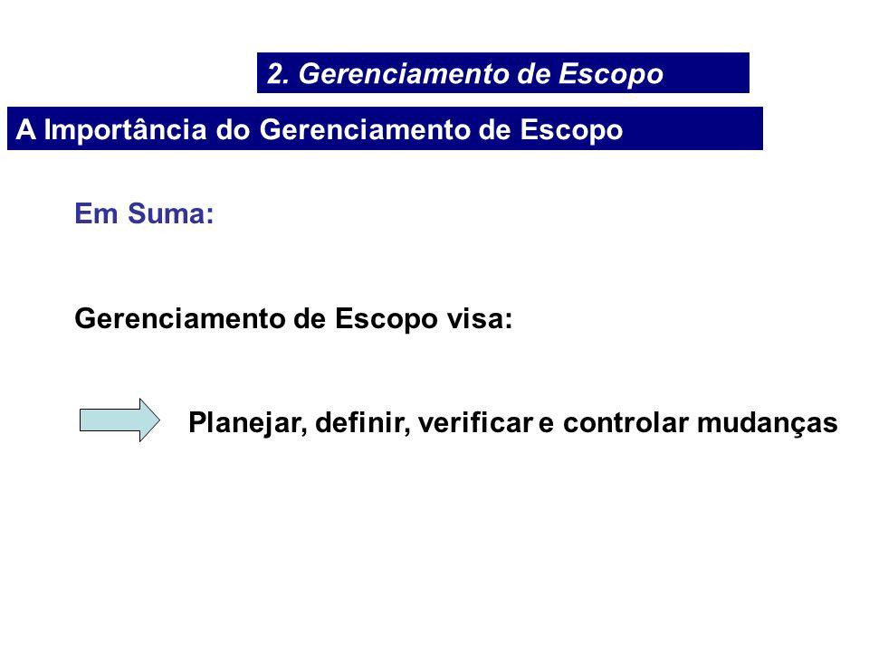 A Importância do Gerenciamento de Escopo Em Suma: Gerenciamento de Escopo visa: Planejar, definir, verificar e controlar mudanças 2. Gerenciamento de