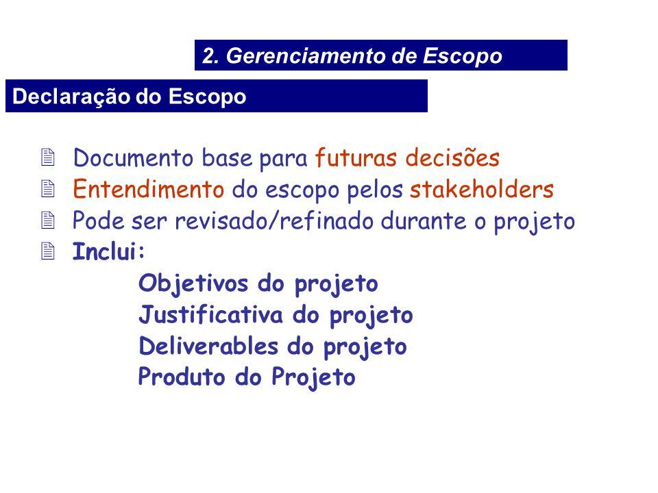 2Documento base para futuras decisões 2Entendimento do escopo pelos stakeholders 2Pode ser revisado/refinado durante o projeto 2Inclui: Objetivos do p