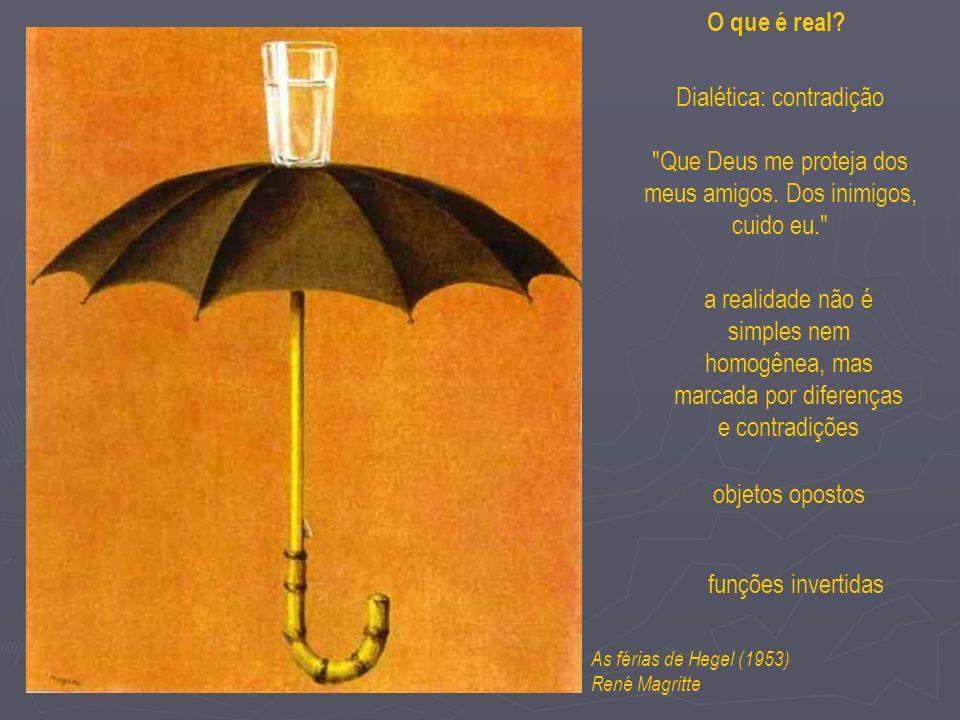 As férias de Hegel (1953) René Magritte a realidade não é simples nem homogênea, mas marcada por diferenças e contradições objetos opostos funções invertidas O que é real.