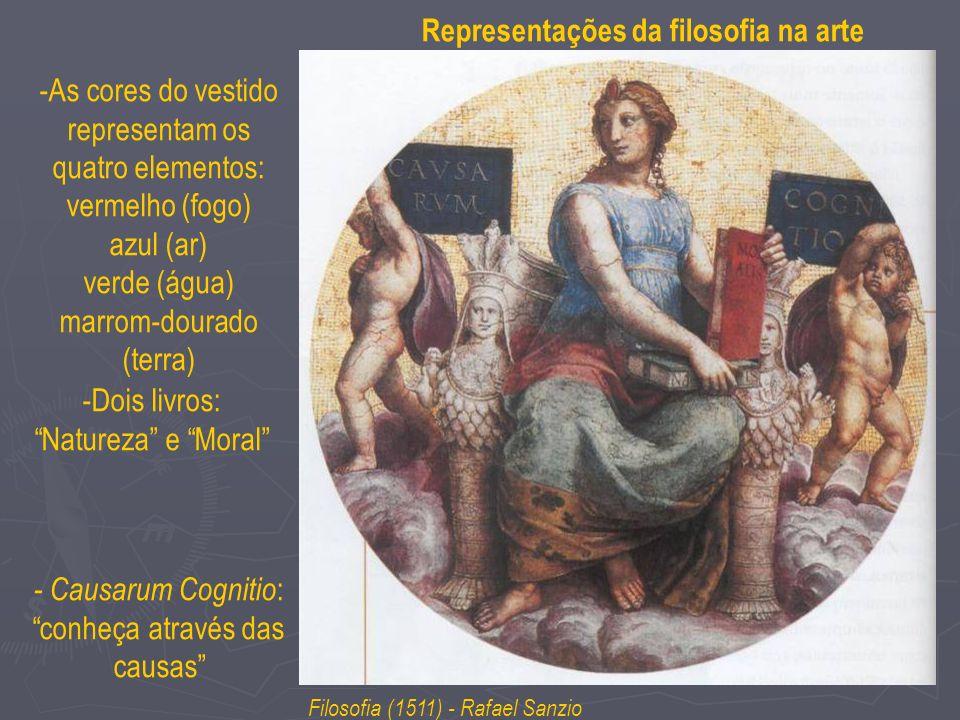 -As cores do vestido representam os quatro elementos: vermelho (fogo) azul (ar) verde (água) marrom-dourado (terra) Filosofia (1511) - Rafael Sanzio R