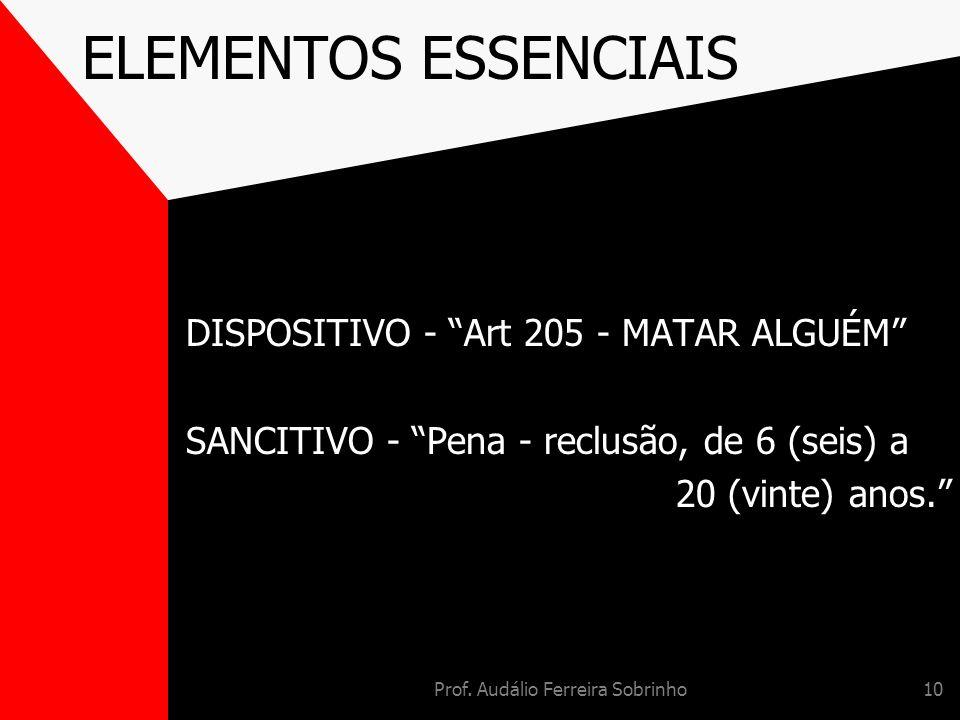 Prof. Audálio Ferreira Sobrinho10 ELEMENTOS ESSENCIAIS DISPOSITIVO - Art 205 - MATAR ALGUÉM SANCITIVO - Pena - reclusão, de 6 (seis) a 20 (vinte) anos