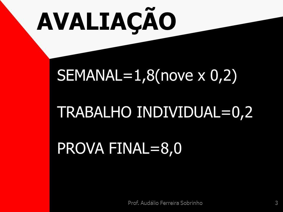 Prof. Audálio Ferreira Sobrinho3 AVALIAÇÃO SEMANAL=1,8(nove x 0,2) TRABALHO INDIVIDUAL=0,2 PROVA FINAL=8,0