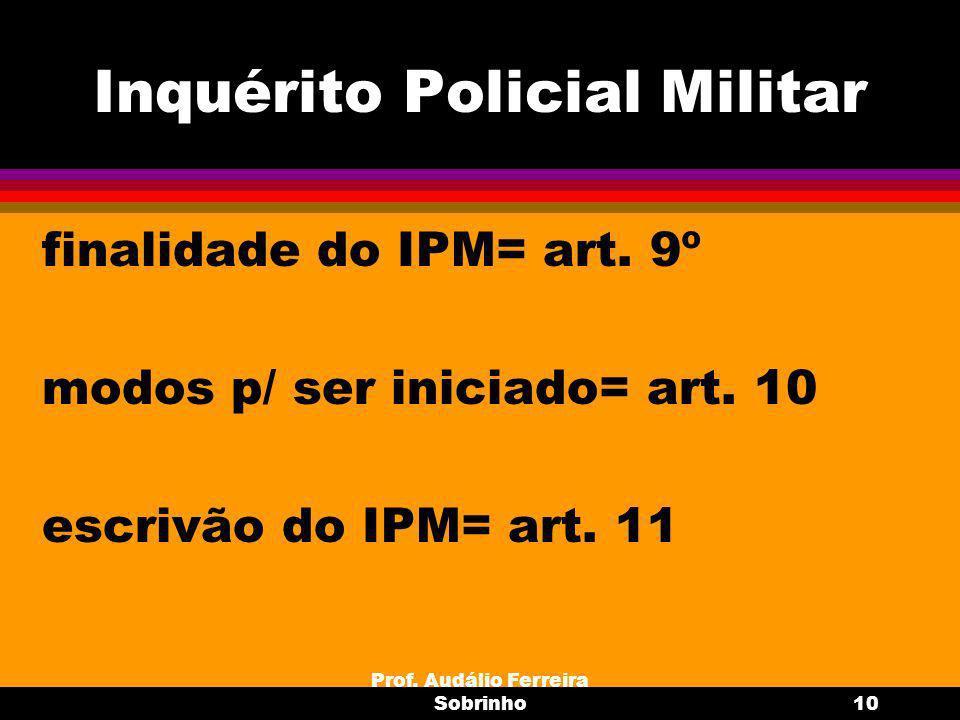 Prof.Audálio Ferreira Sobrinho11 Medidas preliminares ao IPM (art.