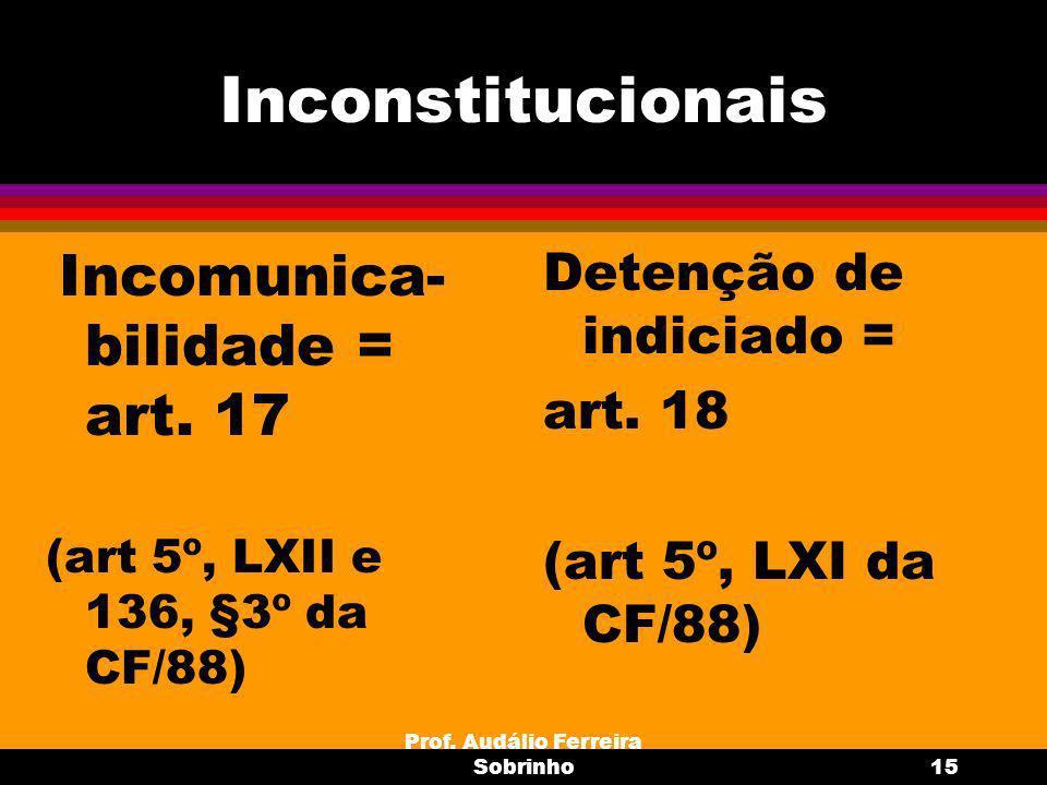 Prof.Audálio Ferreira Sobrinho16 Inquirição (art.