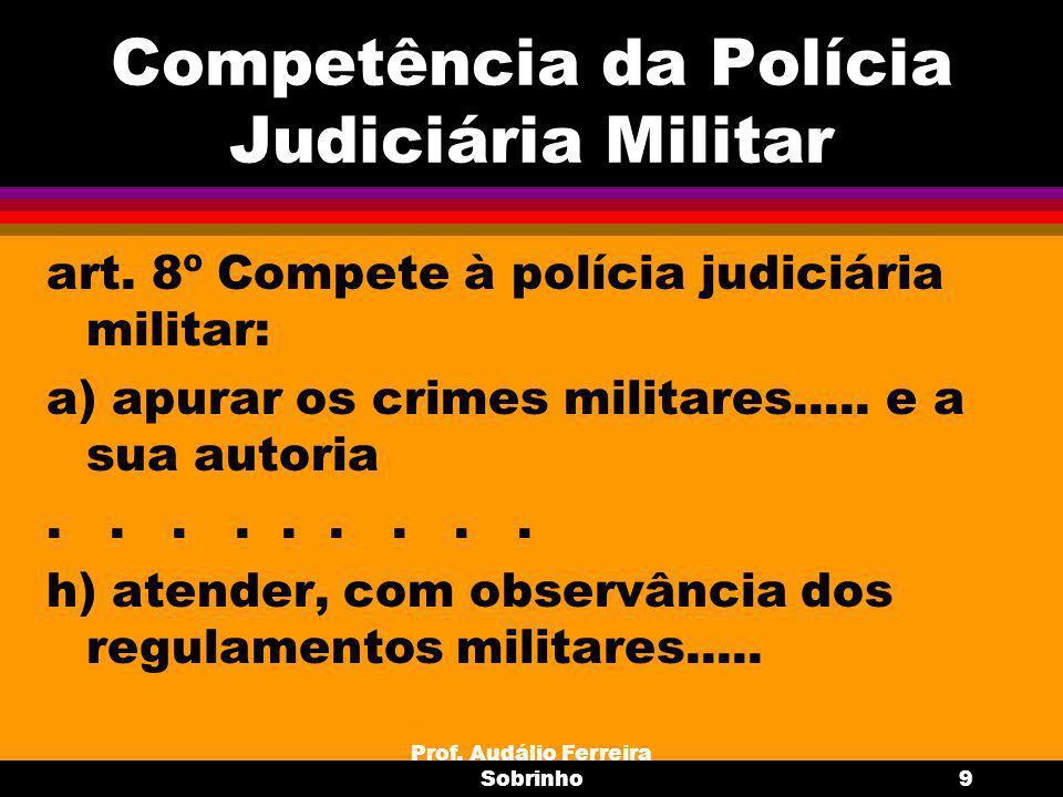 Prof.Audálio Ferreira Sobrinho10 Inquérito Policial Militar finalidade do IPM= art.