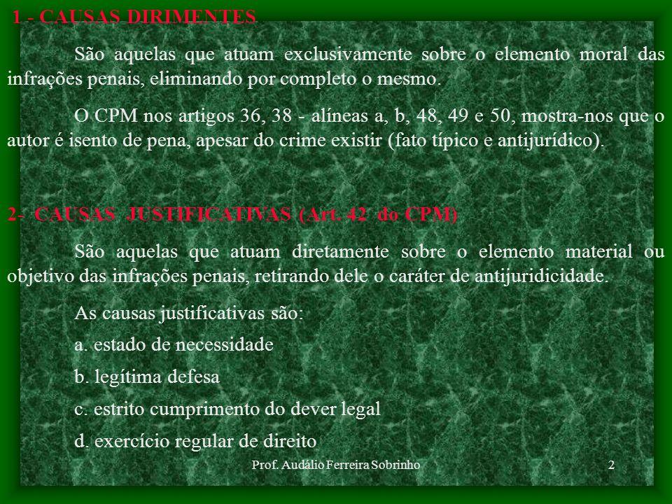 Prof. Audálio Ferreira Sobrinho1 ASSUNTO: CAUSAS DIRIMENTES, JUSTIFICATIVAS E EXTINÇÃO DA PUNIBILIDADE OBJETIVO:PERMITIR AO CADETE IDENTIFICAR E ANALI