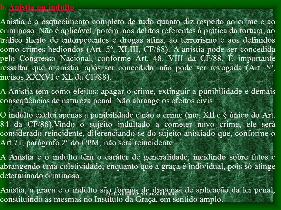 Prof. Audálio Ferreira Sobrinho6 2. EXTINÇÃO DA PUNIBILIDADE As causas de extinção da punibilidade extinguem a pena aplicável. São causas exteriores a