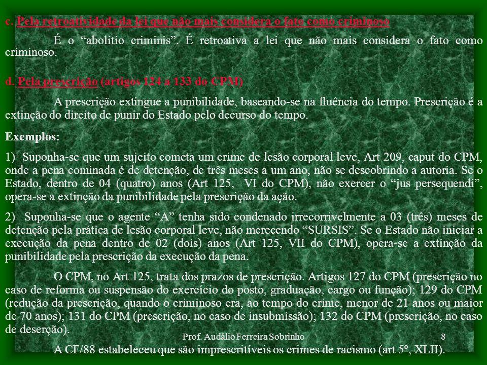 Prof. Audálio Ferreira Sobrinho7 b. Anistia ou indulto Anistia é o esquecimento completo de tudo quanto diz respeito ao crime e ao criminoso. Não é ap