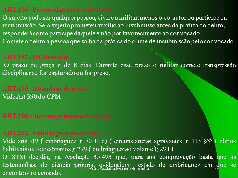 Prof. Audálio Ferreira Sobrinho9 Art.183 - Da Insubmissão O CPM atual introduziu a nova modalidade de pena privativa de liberdade para o crime de insu