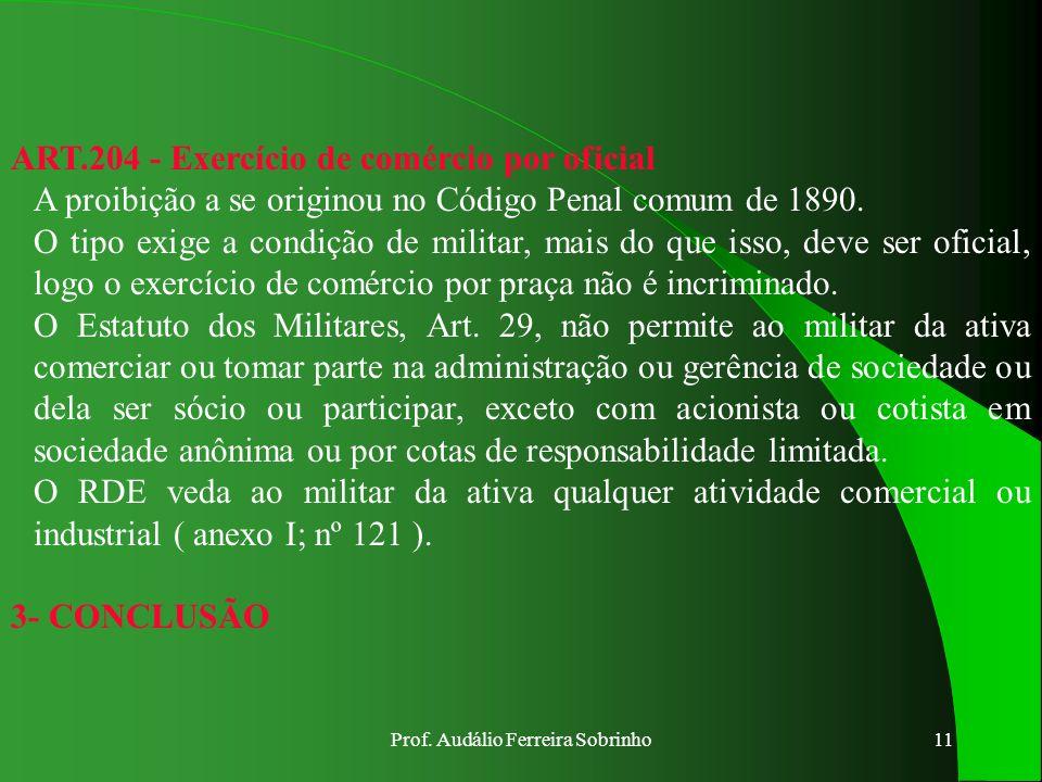 Prof. Audálio Ferreira Sobrinho10 ART.186 - Favorecimento a convocado O sujeito pode ser qualquer pessoa, civil ou militar, menos o co-autor ou partíc
