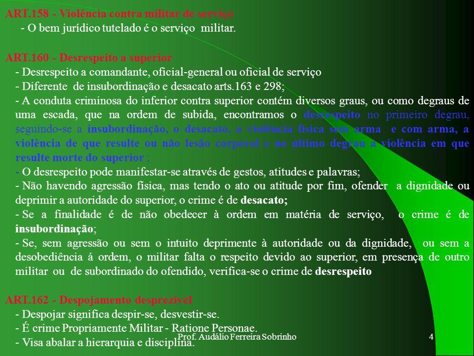 Prof. Audálio Ferreira Sobrinho3 ART.154 - Aliciação para motim ou revolta - Aliciação é atrair, com promessa e suborno, militares para praticarem os