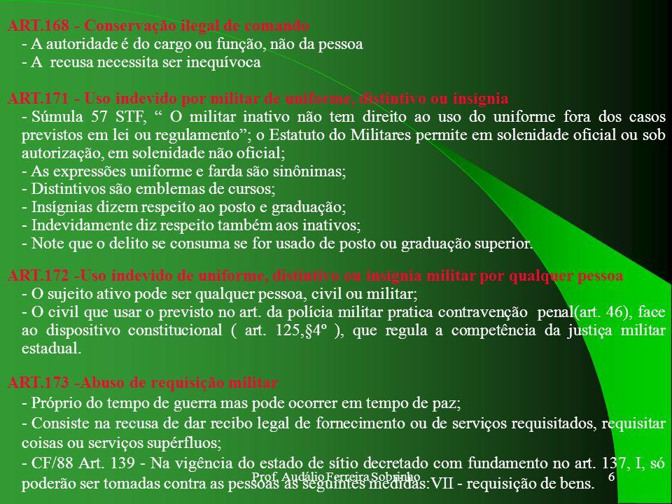 Prof. Audálio Ferreira Sobrinho5 ART.163 - Recusa de obediência - A ordem deve ser : IMPERATIVA – deve importar numa exigência para o inferior, por is