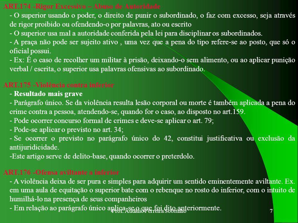 Prof. Audálio Ferreira Sobrinho6 ART.168 - Conservação ilegal de comando - A autoridade é do cargo ou função, não da pessoa - A recusa necessita ser i