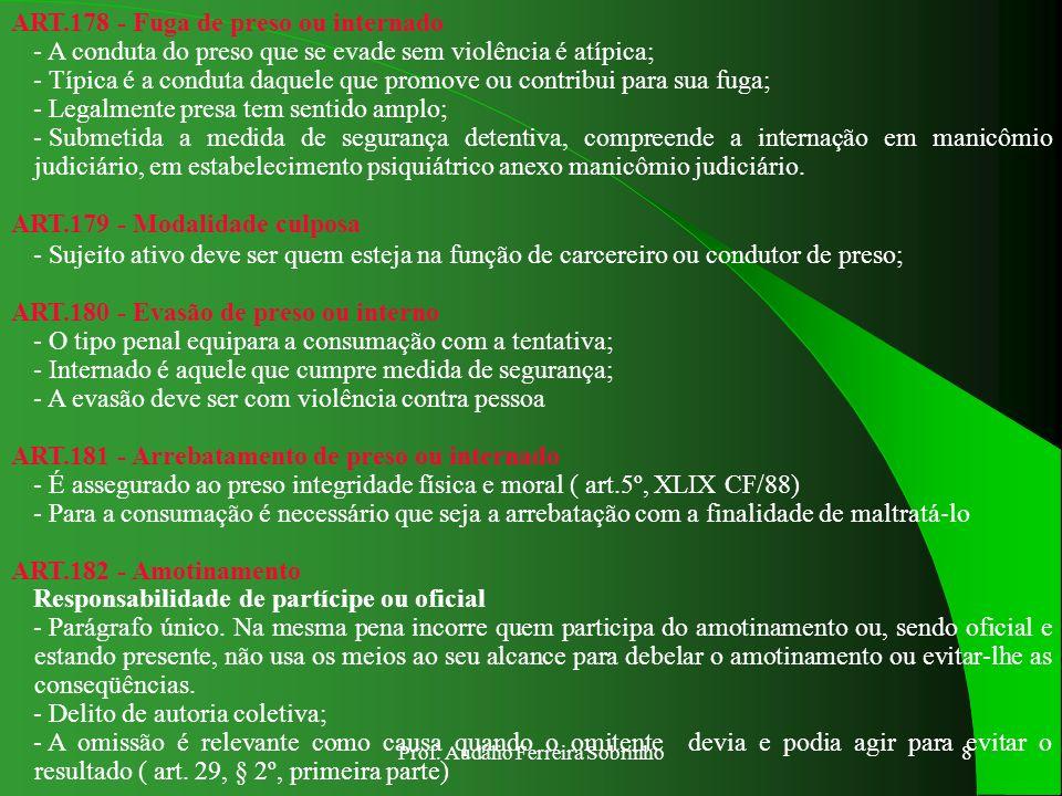 Prof. Audálio Ferreira Sobrinho7 ART.174 -Rigor Excessivo – Abuso de Autoridade - O superior usando o poder, o direito de punir o subordinado, o faz c