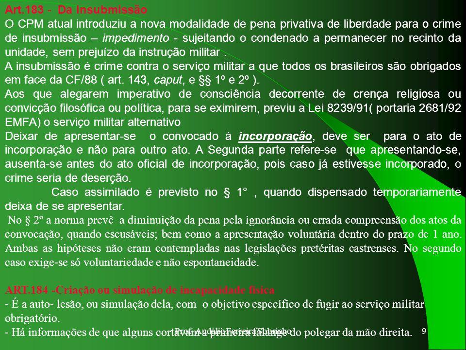 Prof. Audálio Ferreira Sobrinho8 ART.178 - Fuga de preso ou internado - A conduta do preso que se evade sem violência é atípica; - Típica é a conduta