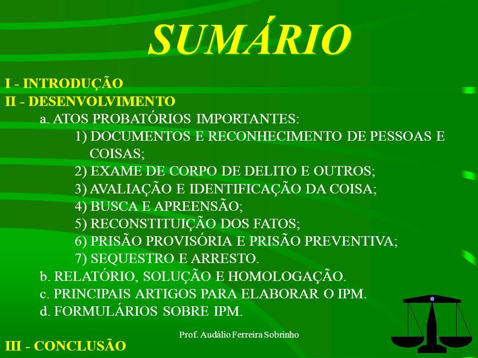 Prof. Audálio Ferreira Sobrinho1 OBJETIVO: DESMPENHAR A FUNÇÃO DE ENCARREGADO DE IPM. ASSUNTO:INQUÉRITO POLICIAL MILITAR.