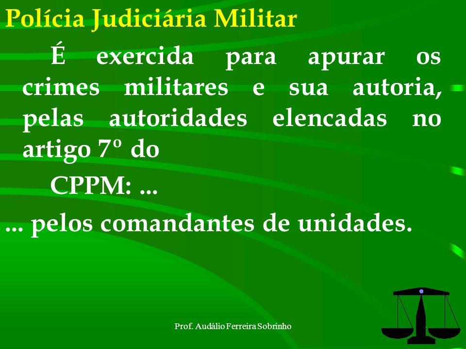 Prof. Audálio Ferreira Sobrinho3 Inquérito Policial Militar É a apuração sumária de fato (indícios de crime militar), e de sua autoria. Tem o caráter