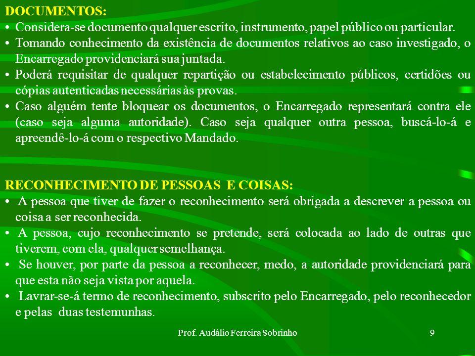 Prof. Audálio Ferreira Sobrinho8 Prazos (Art 20 do CPPM) Indiciado preso: 20 dias Indiciado solto: 40 dias Obs: Este último prazo poderá ser prorrogad