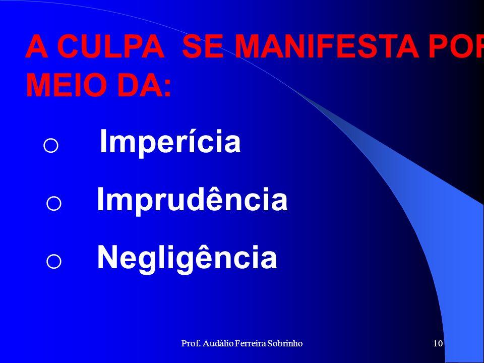 Prof. Audálio Ferreira Sobrinho9 GRAUS DE CULPABILIDADE DOLO: É a intenção criminosa, mais ou menos perfeita de lesar um bem alheio ( art.33,I,CPM). C