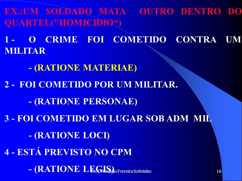 Prof. Audálio Ferreira Sobrinho15 CRIMES, IMPROPRIAMENTE OU ACIDENTALMENTE, MILITARES SÃO OS CRIMES ESSENCIALMENTE COMUNS E QUE NA SUA EXECUÇÃO, ALÉM