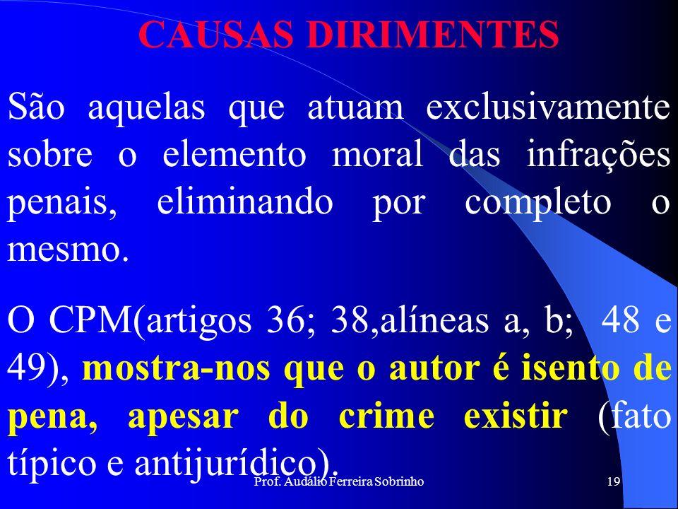 Prof. Audálio Ferreira Sobrinho18 OBEDIÊNCIA HIERÁRQUICA Tipos de Ordens: a. Ordem legal emanada de superior hierárquico (art.38, b do CPM); b. Ordem