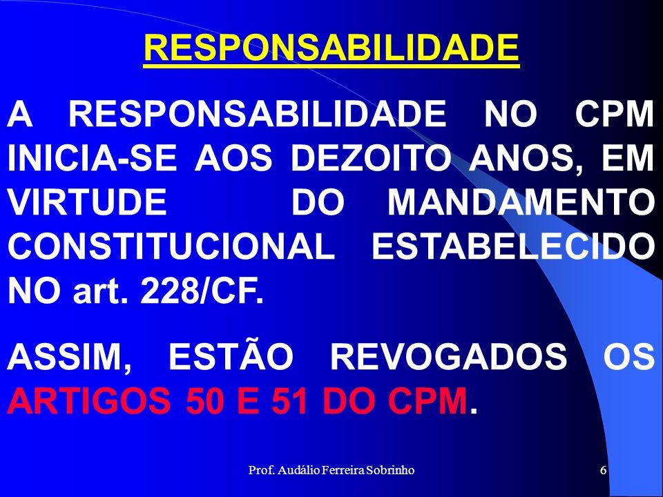 Prof. Audálio Ferreira Sobrinho5 RESPONSABILIDADE É a obrigação que alguém tem de responder penalmente pelo fato que lhe é imputado, ou de arcar com a