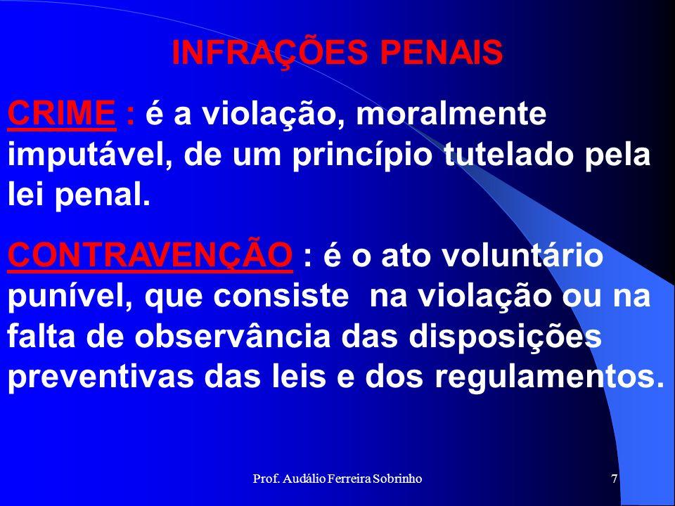 Prof. Audálio Ferreira Sobrinho6 RESPONSABILIDADE A RESPONSABILIDADE NO CPM INICIA-SE AOS DEZOITO ANOS, EM VIRTUDE DO MANDAMENTO CONSTITUCIONAL ESTABE