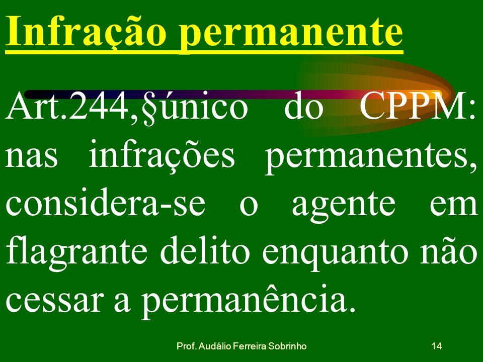 Prof. Audálio Ferreira Sobrinho13 APFD Art. 27 do CPPM : se, por si só,for suficiente para a elucidação do fato e sua autoria, o auto de flagrante del